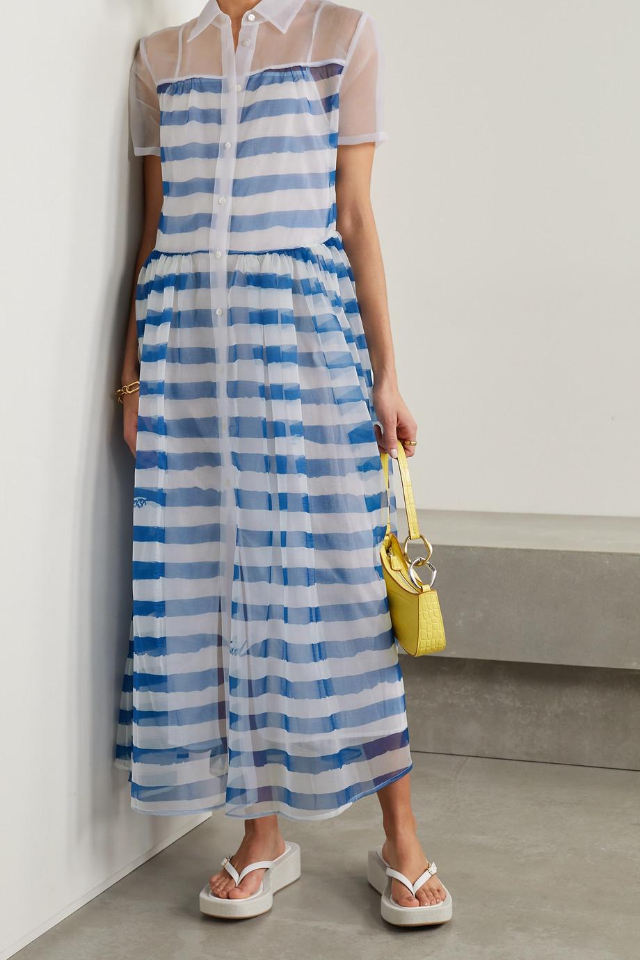 STAUD Guilia striped organza shirt dress