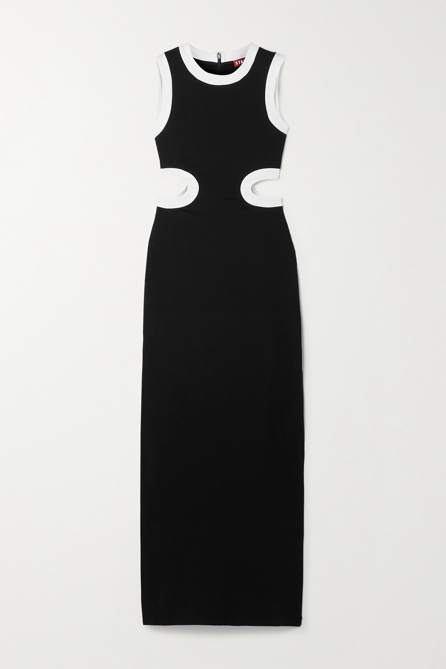 STAUD Dolce cutout two-tone stretch-jersey maxi dress