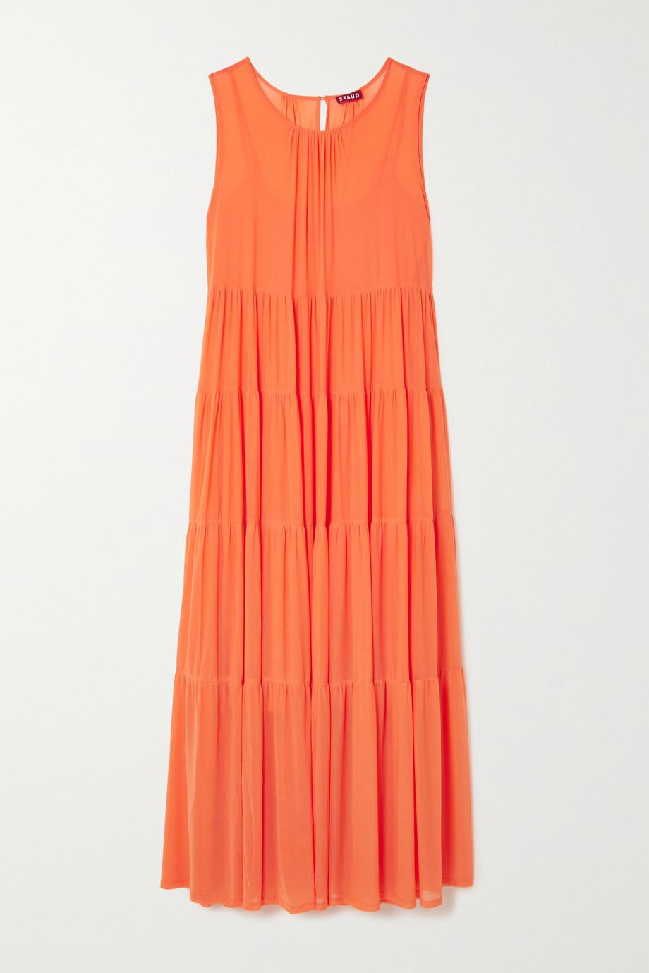 STAUD Benedetta tiered stretch-mesh maxi dress
