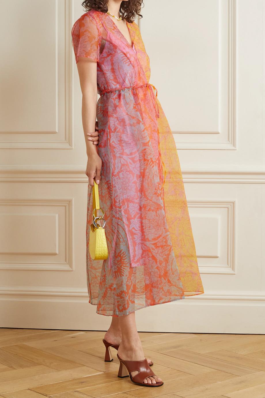 STAUD Filippa floral-print chiffon wrap midi dress