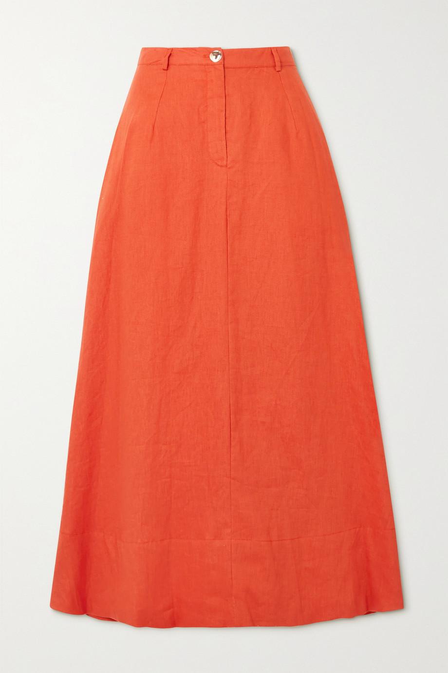 STAUD Cybele linen midi skirt