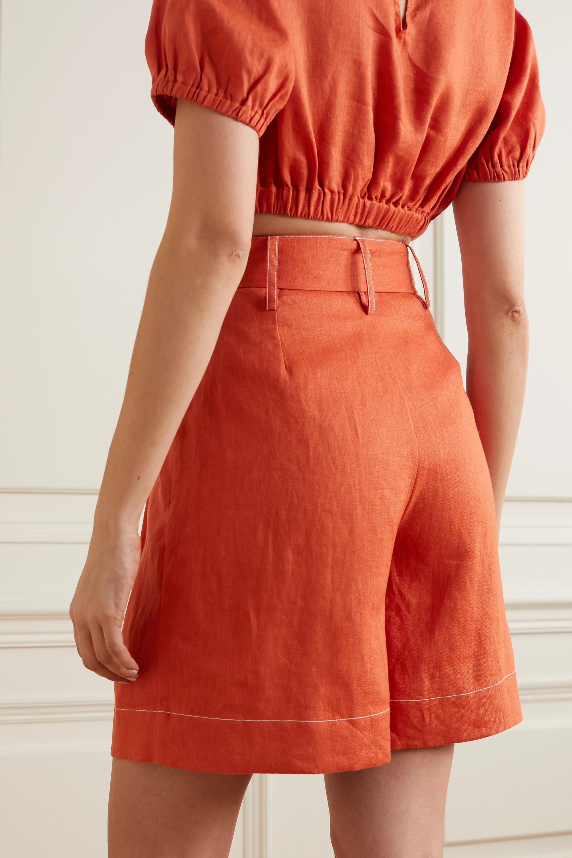 STAUD Helios belted linen shorts