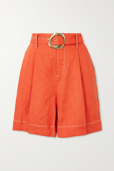 STAUD - Helios Belted Linen Shorts - Orange