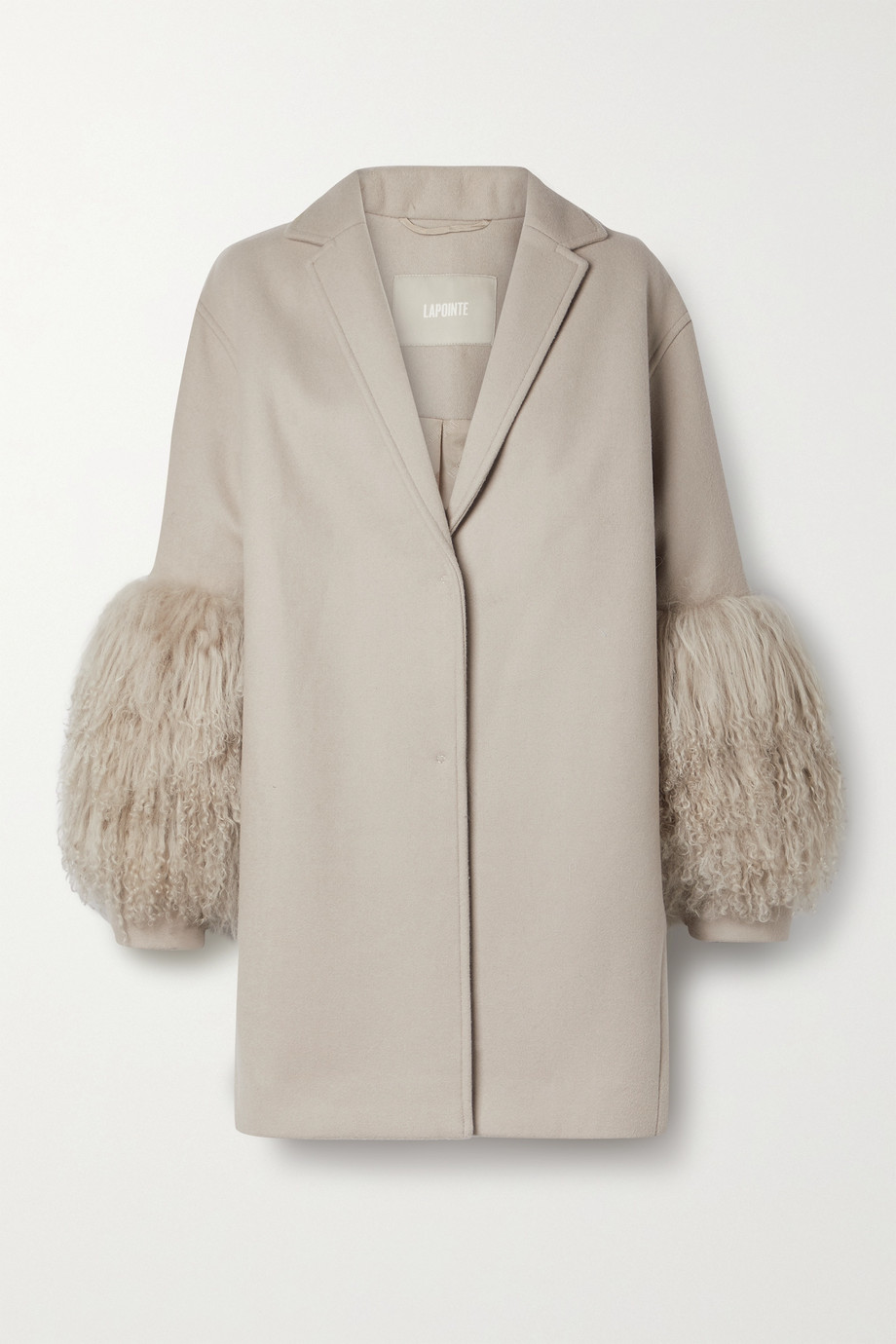 LAPOINTE Shearling-trimmed wool and cashmere-blend coat