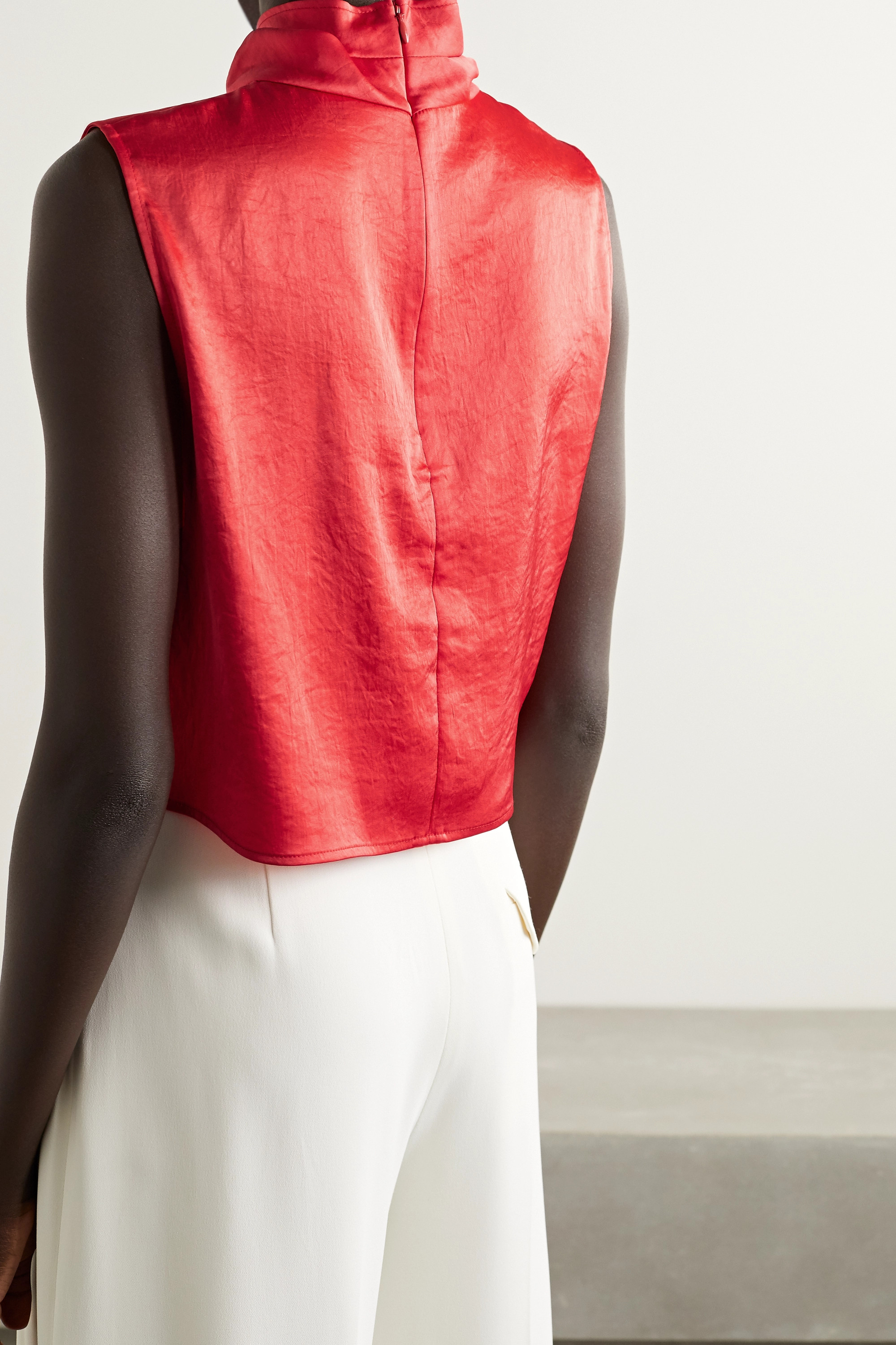 LAPOINTE Cropped crinkled-satin top