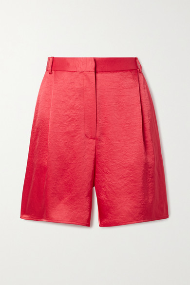 Lapointe Pleated Crinkled-satin Shorts In Fuchsia
