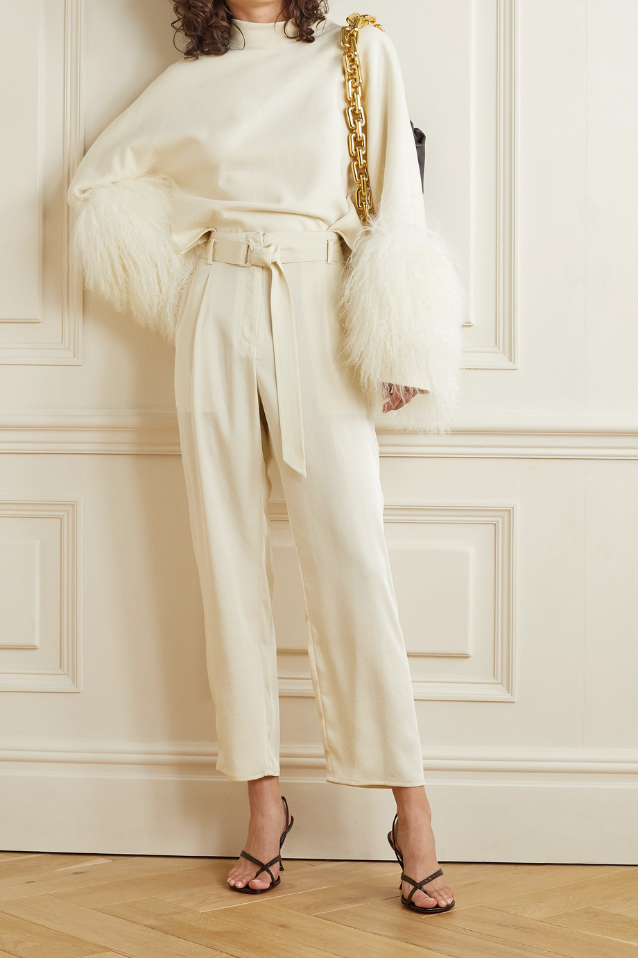 LAPOINTE Shearling-trimmed cotton-jersey top