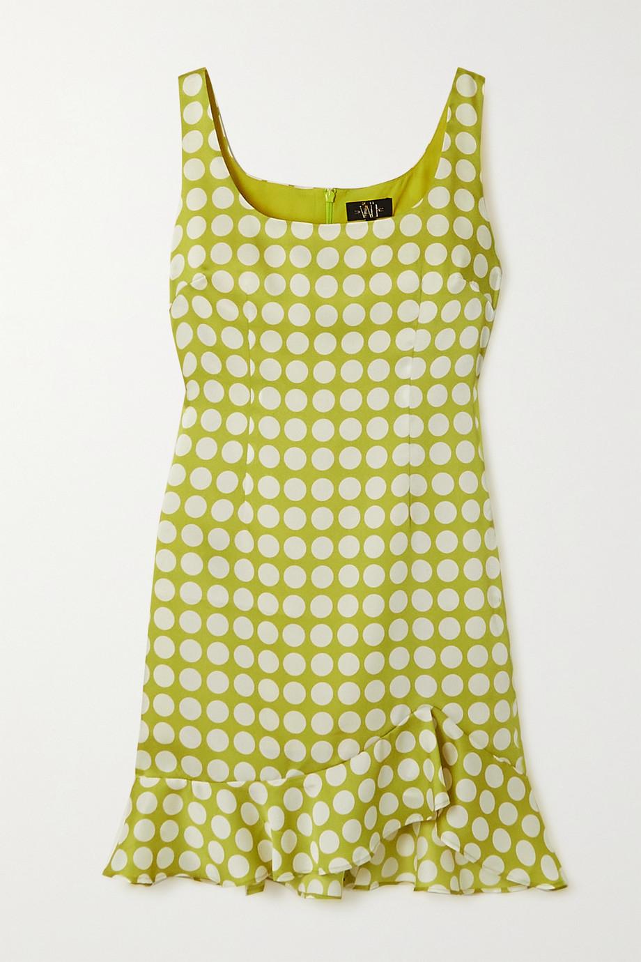 De La Vali Christabel Minikleid aus recyceltem Twill mit Polka-Dots und Volant