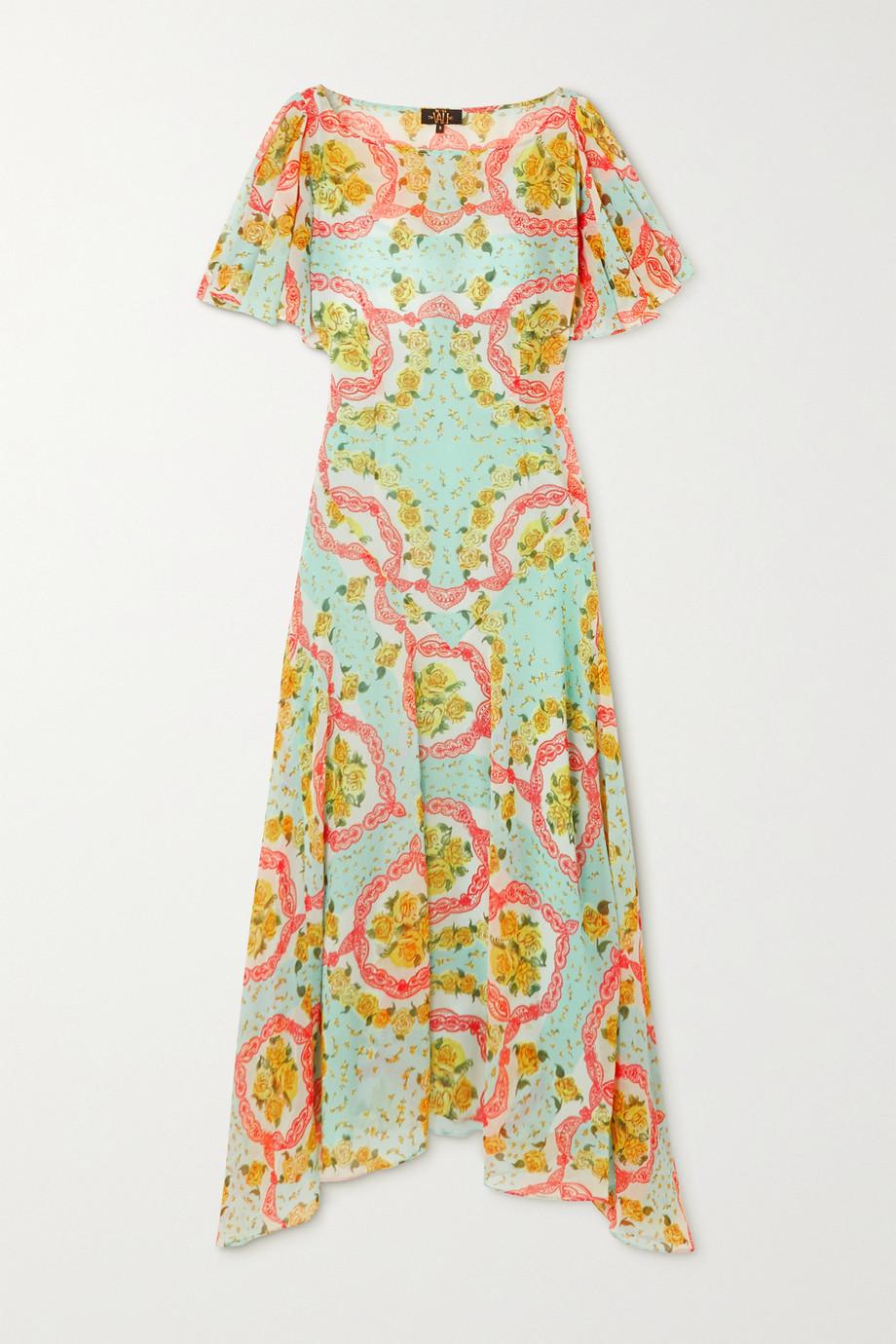 De La Vali Olivia asymmetrisches Kleid aus Chiffon mit Blumenprint