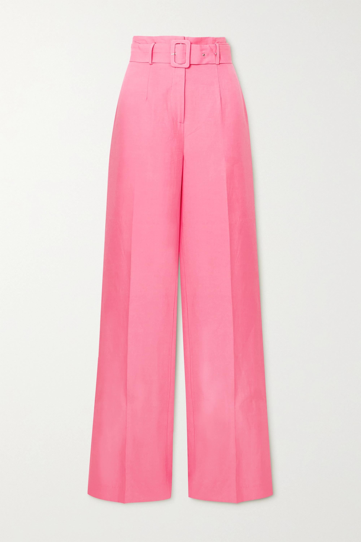 De La Vali Belted Tencel and linen-blend wide-leg pants