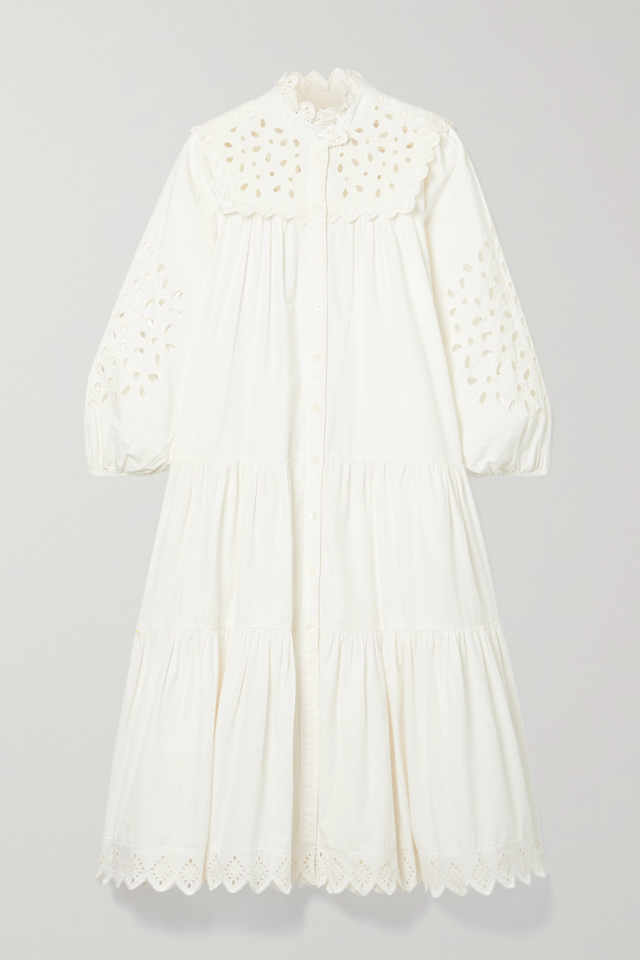 Sea Hazel broderie anglaise cotton-poplin midi dress