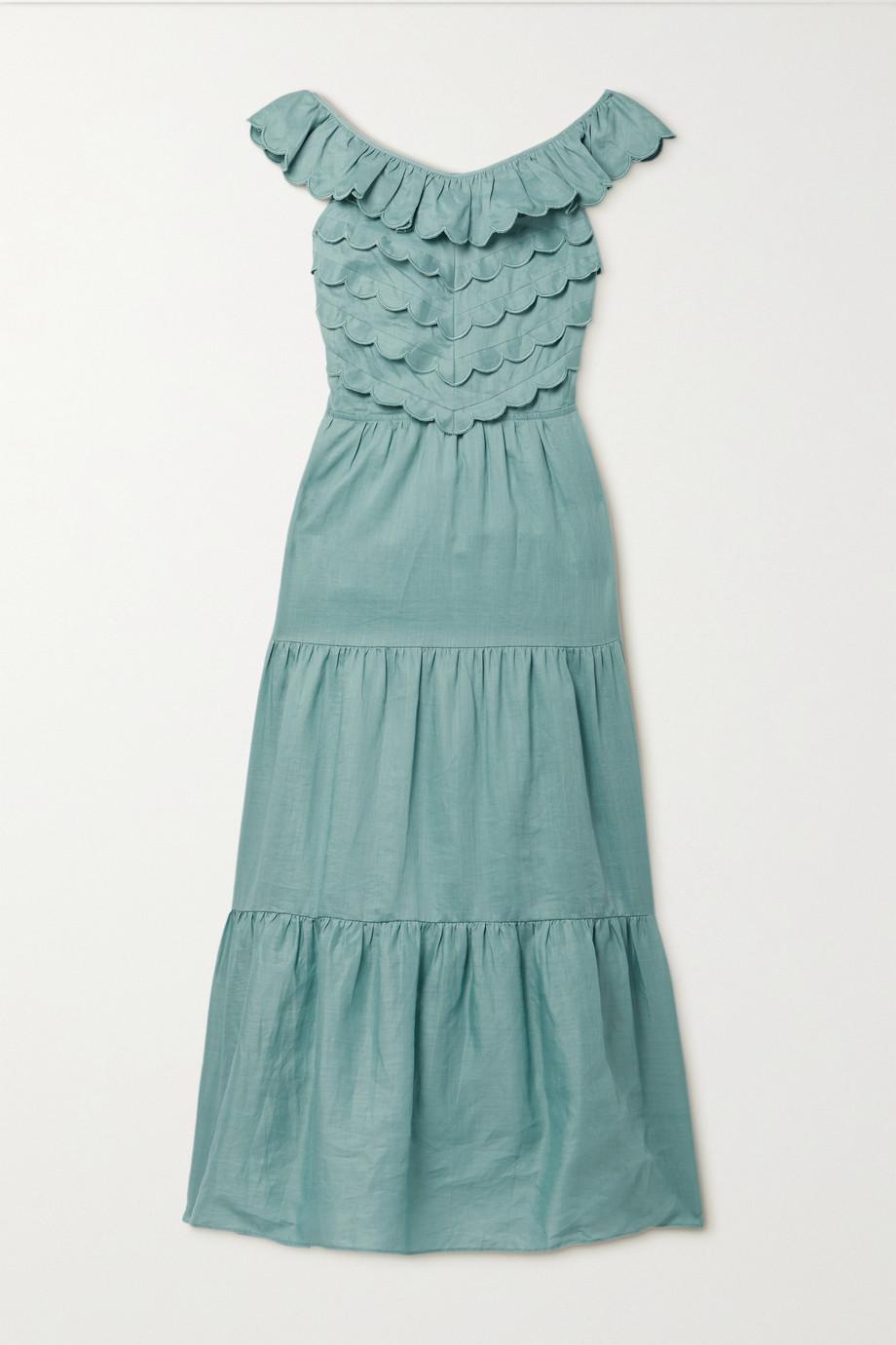 Sea Shannon open-back scalloped tiered ramie midi dress