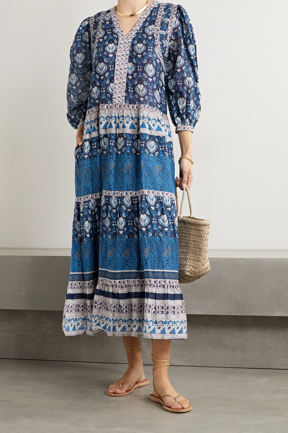 Sea Brigitte tiered printed cotton-voile midi dress