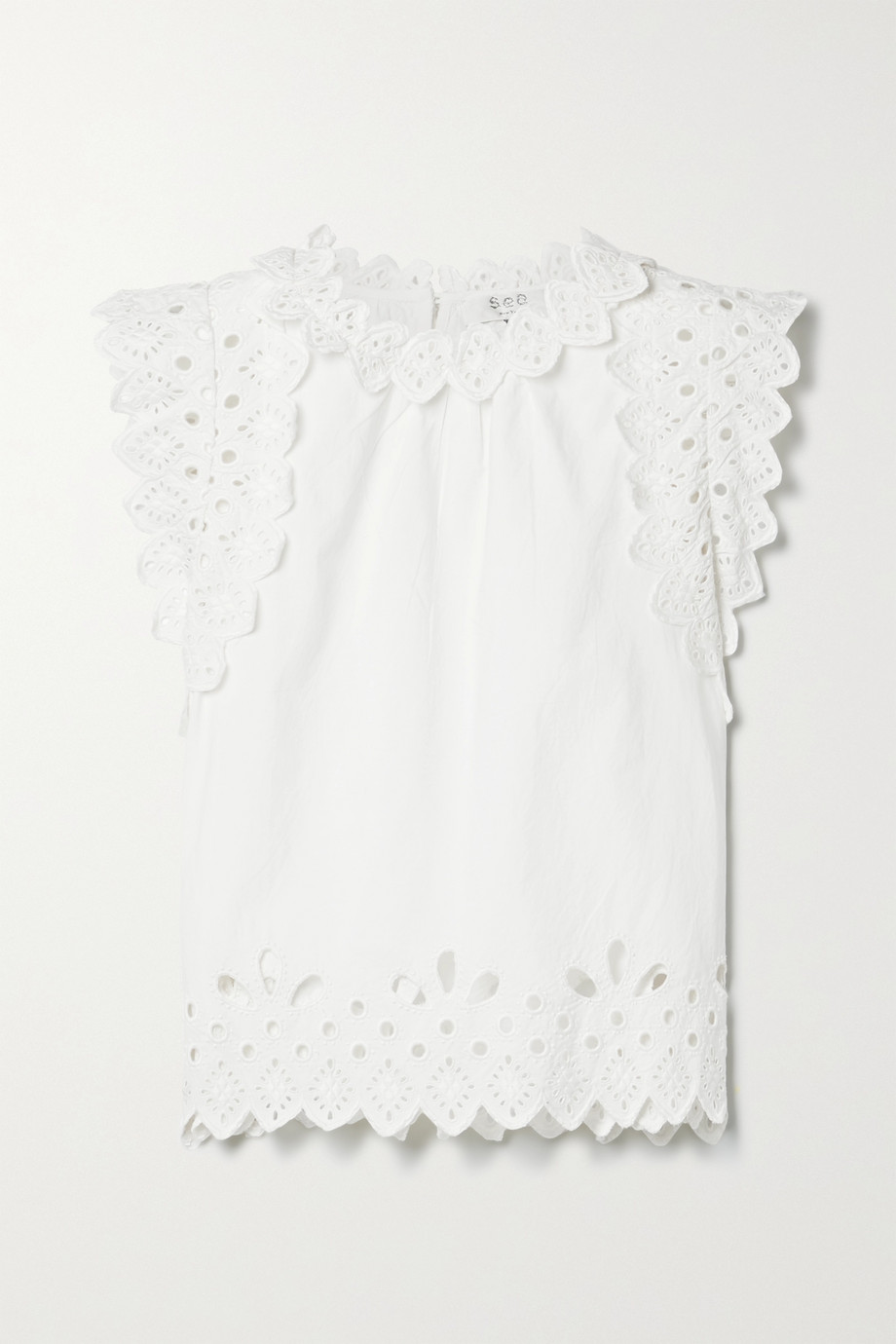 Sea Hazel scalloped broderie anglaise cotton-poplin top