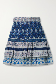 Sea Brigitte tiered printed cotton-voile mini skirt
