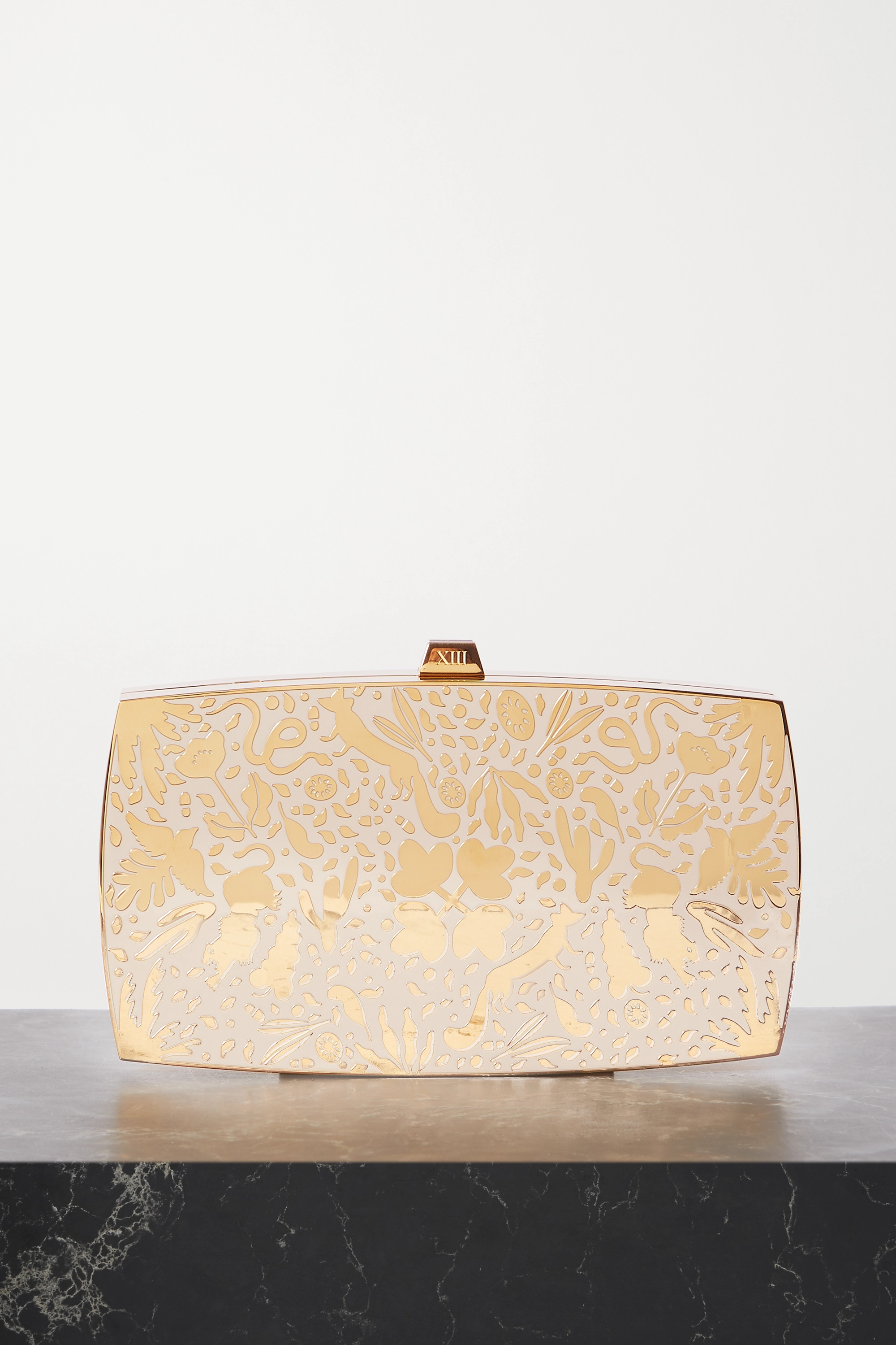13BC Wilderness gold-tone and enamel clutch