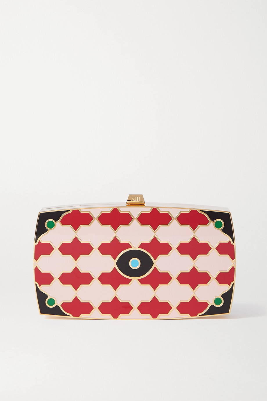 13BC Shelter enamel and gold-tone clutch