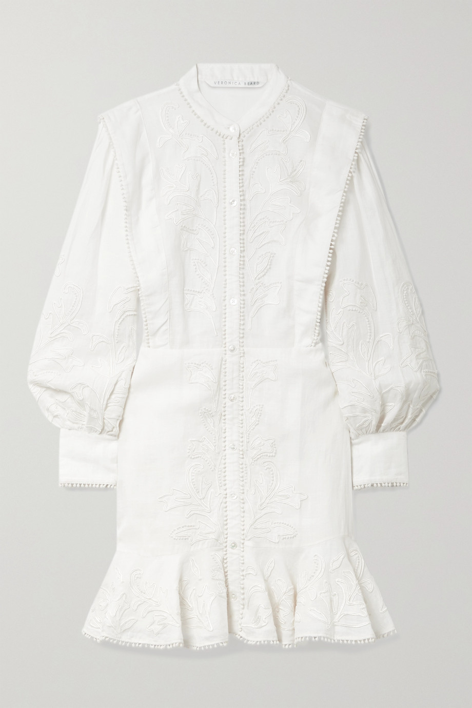 Veronica Beard Analeah ruffled embroidered ramie mini dress