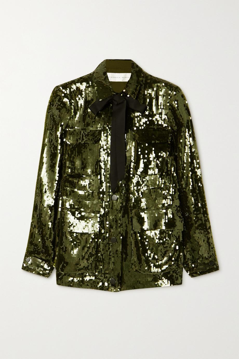 Veronica Beard Oriana tie-detailed sequined crepe jacket