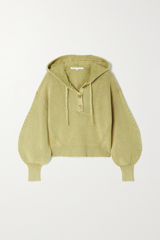 Veronica Beard Ursina pointelle-trimmed ribbed cotton hoodie