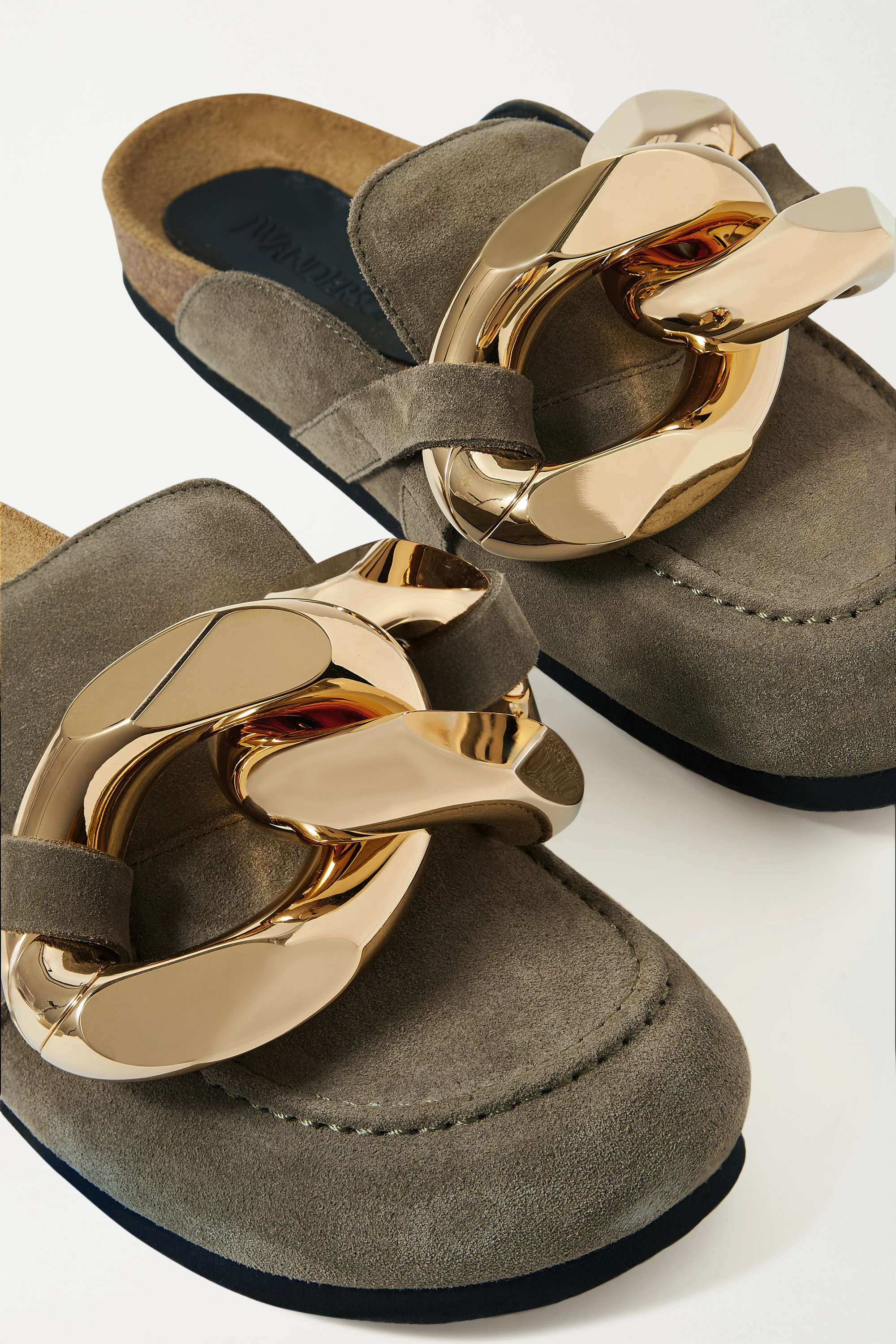 JW Anderson Chain-embellished suede slippers