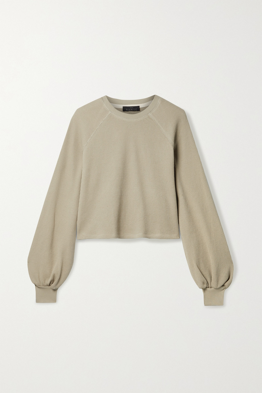 The Range Stark cropped waffle-knit stretch-cotton top