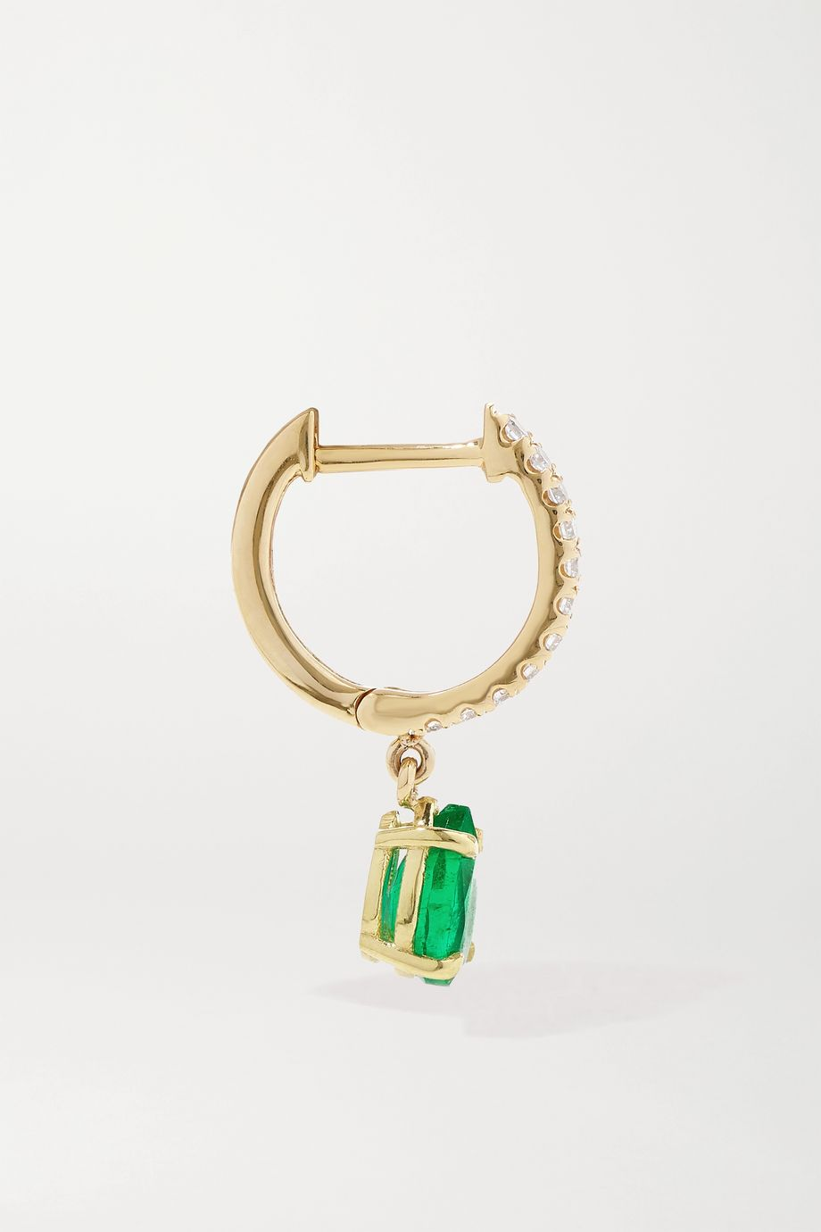 Anita Ko 18-karat gold, emerald and diamond hoop earring