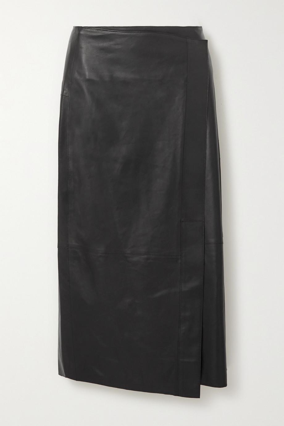 Vince Wrap-effect leather midi skirt