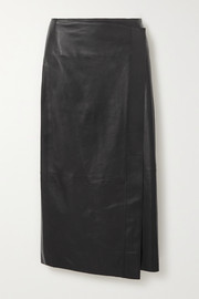 Vince Wrap-effect leather midi skirt