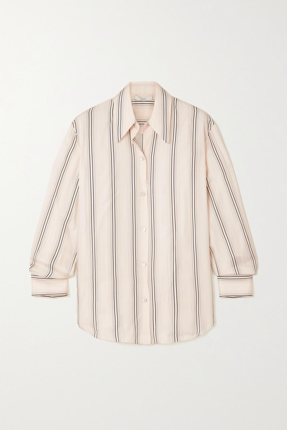 Vince Striped silk-blend twill shirt