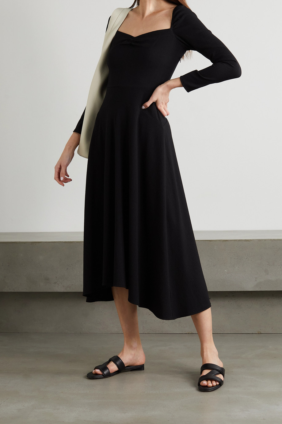 Vince Ruched textured crepe midi dress