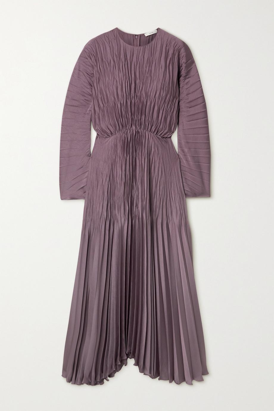 Vince Pleated crinkled-satin maxi dress