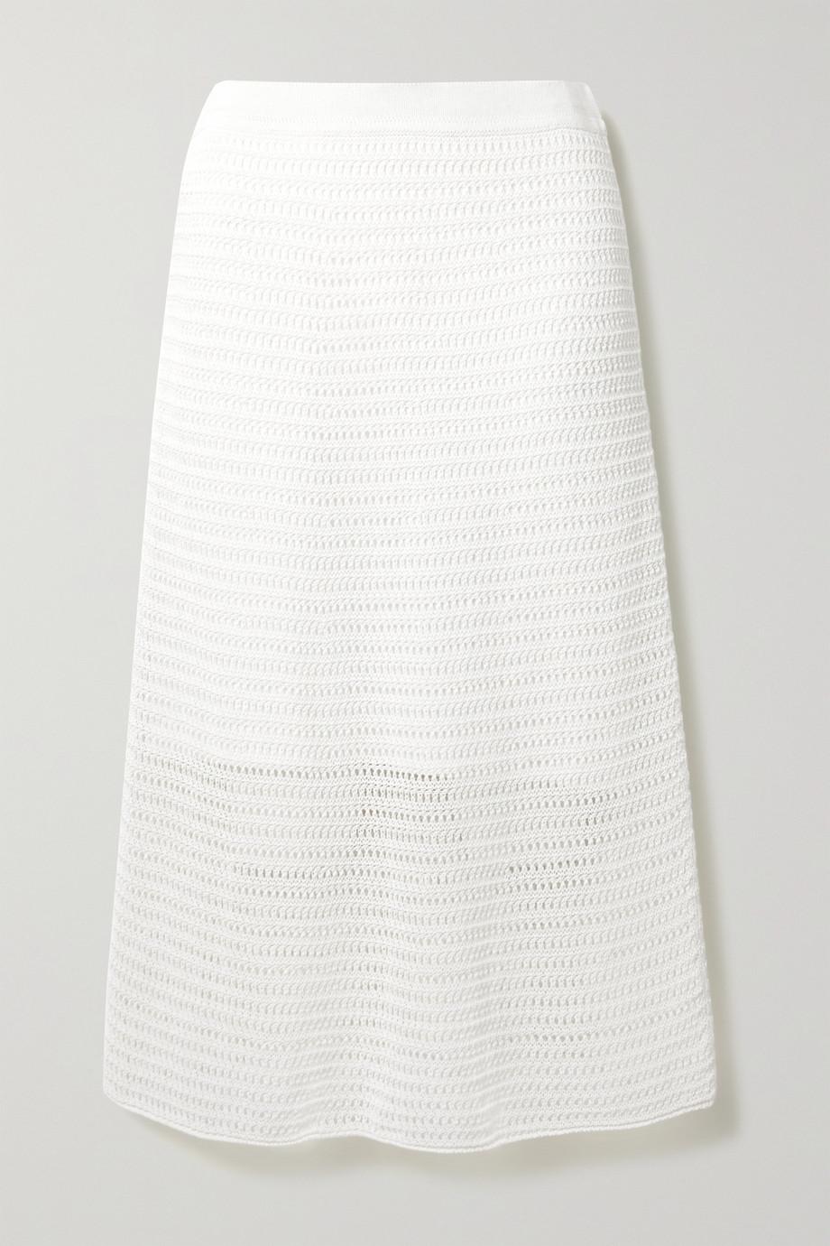 Vince Crocheted cotton-blend midi skirt