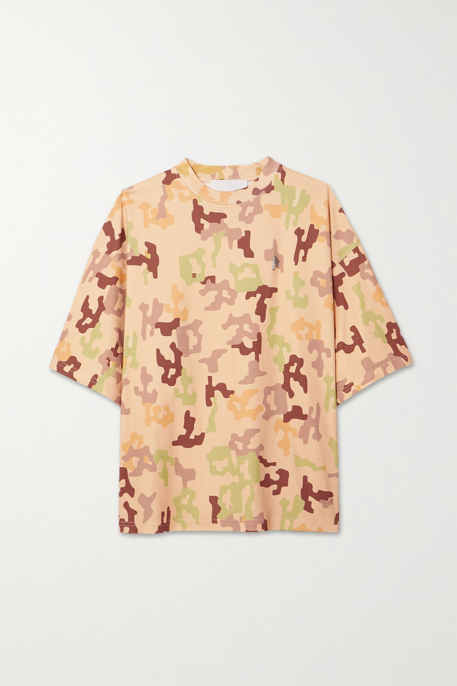 The Attico Cara embellished camouflage-print cotton-jersey T-shirt