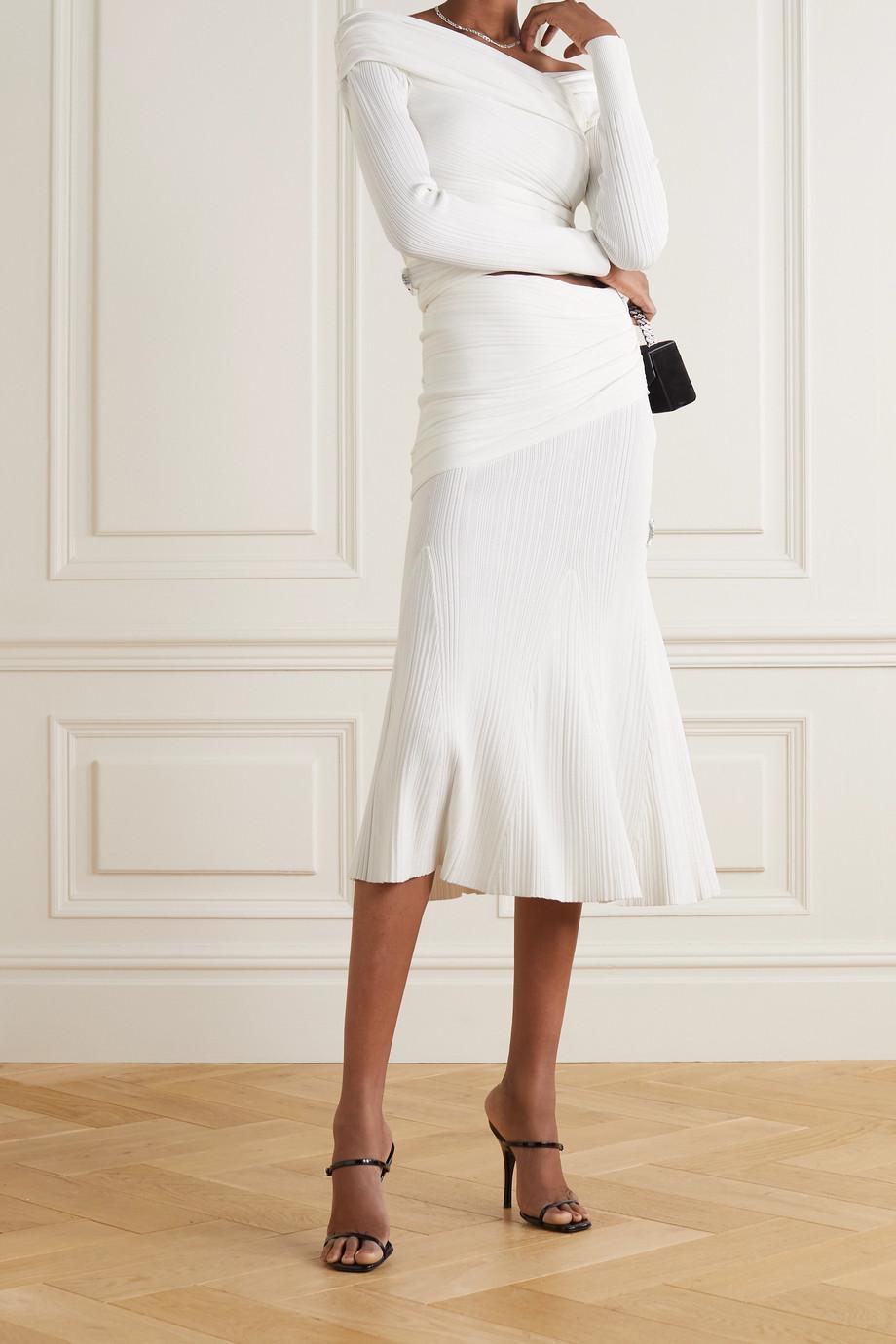 Hervé Léger Draped ribbed-knit midi skirt