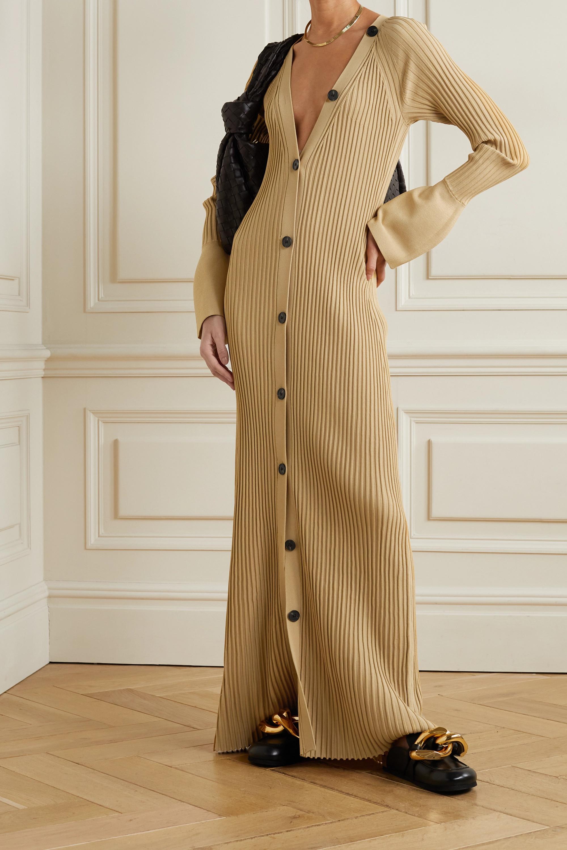 Proenza Schouler Button-detailed ribbed-knit maxi dress