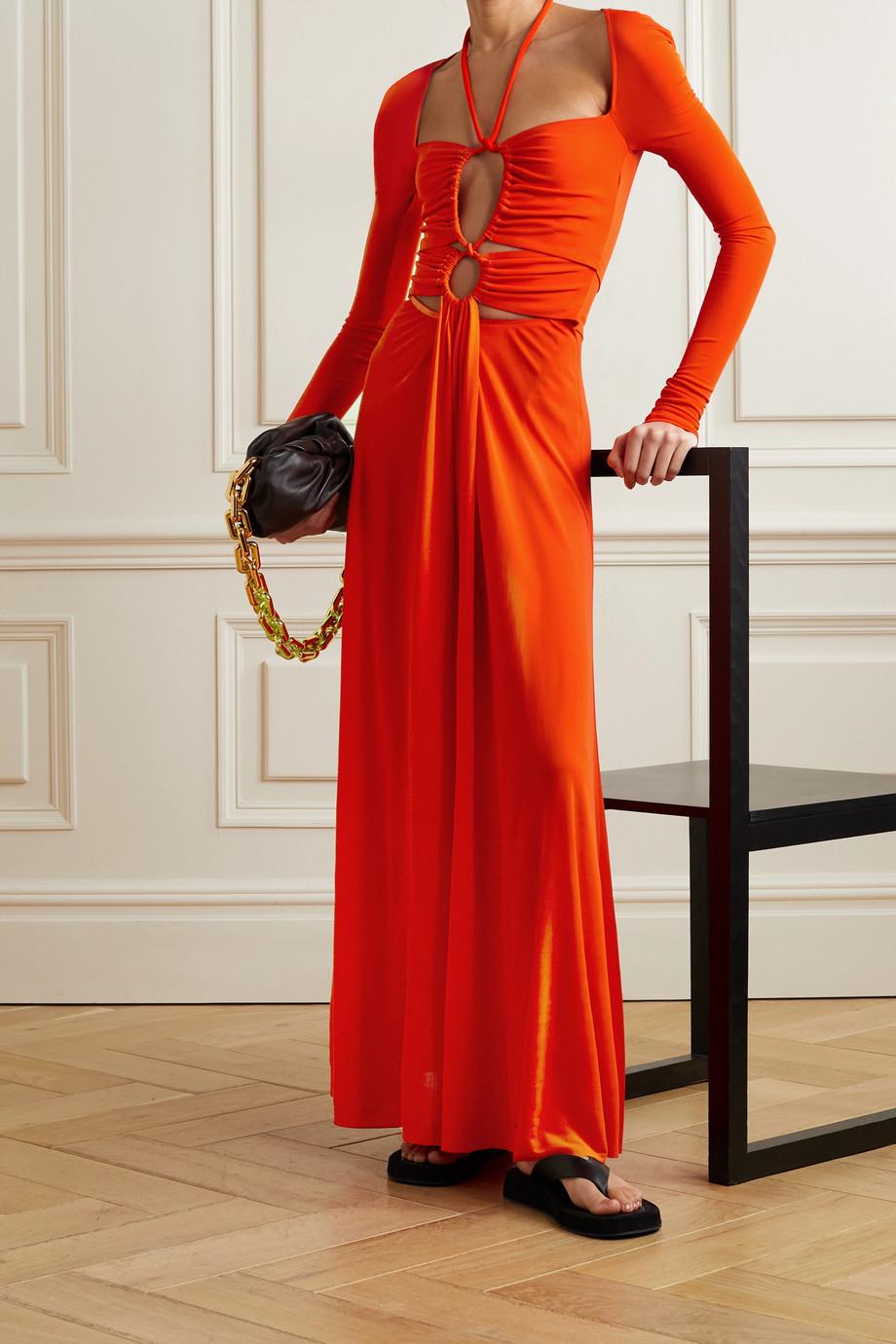 Proenza Schouler Tie-detailed cutout ruched matte-jersey maxi dress