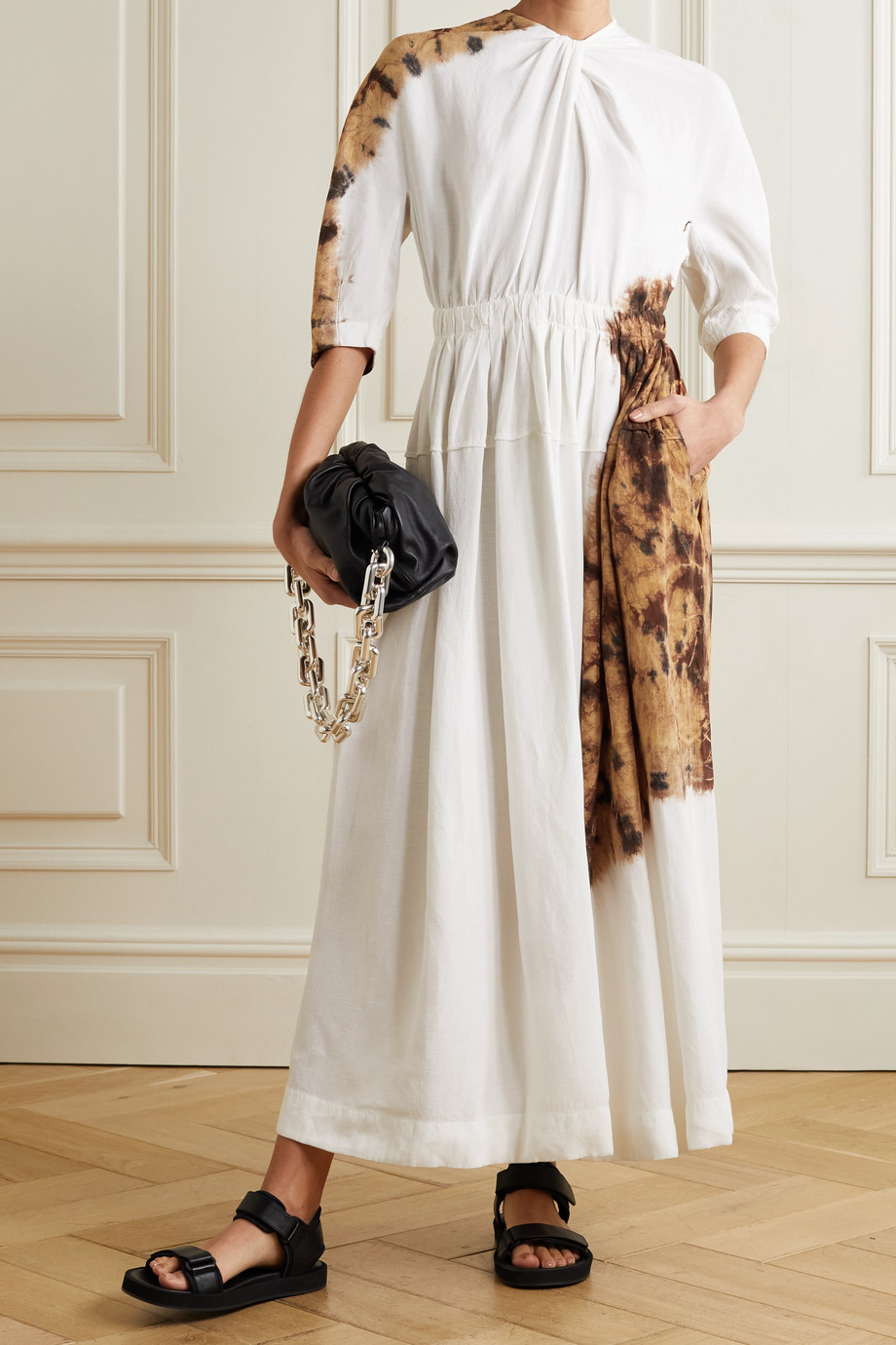 Proenza Schouler Robe longue en serge tie & dye à découpe