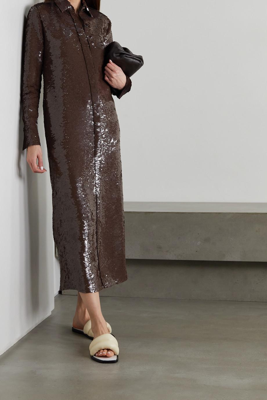 Proenza Schouler Hemdblusenkleid aus Seide mit Pailletten