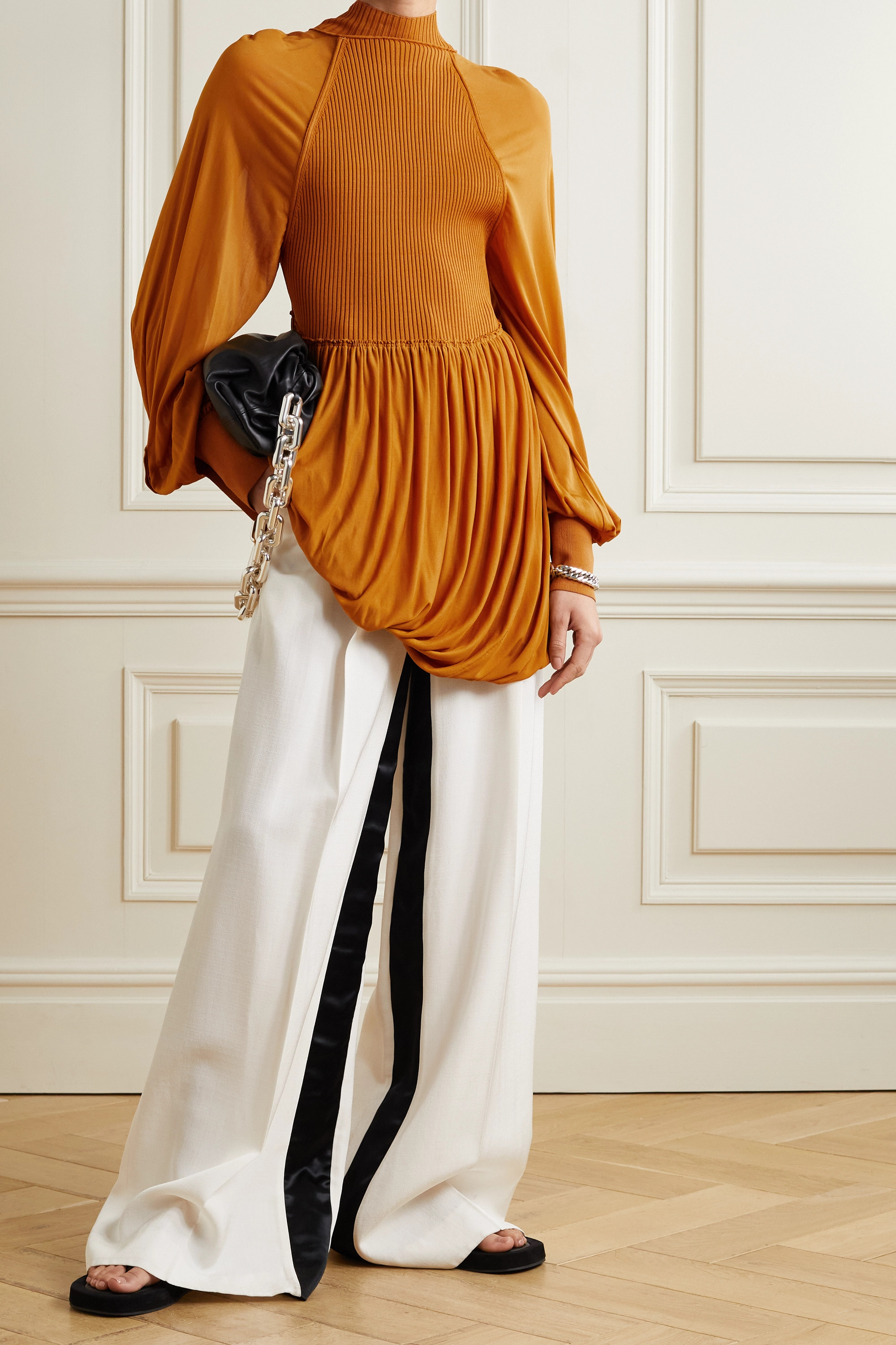 Proenza Schouler Paneled jersey and ribbed-knit blouse