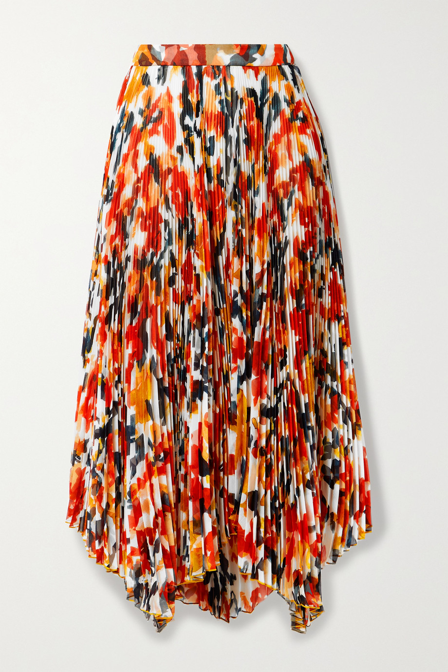 Proenza Schouler Asymmetric pleated floral-print chiffon midi skirt