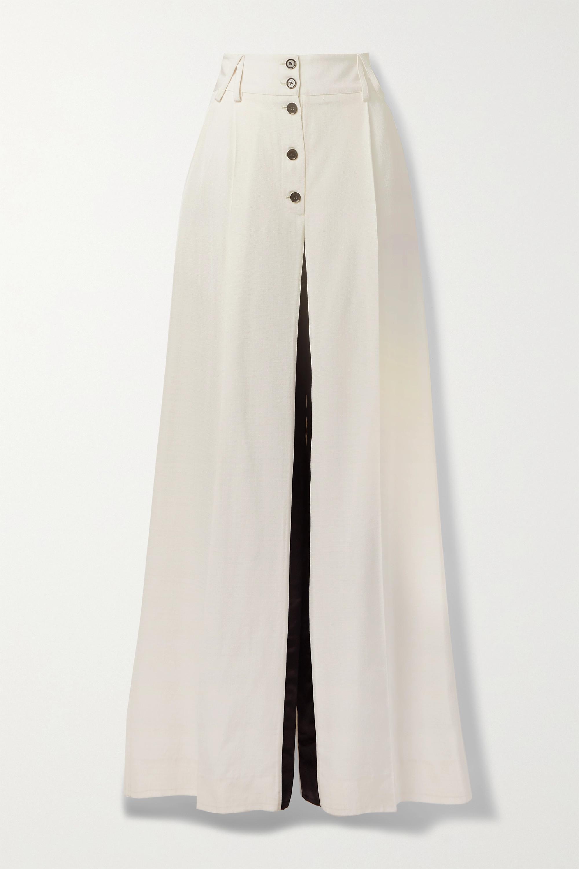 Proenza Schouler Pantalon large tissé bicolore à finitions en satin