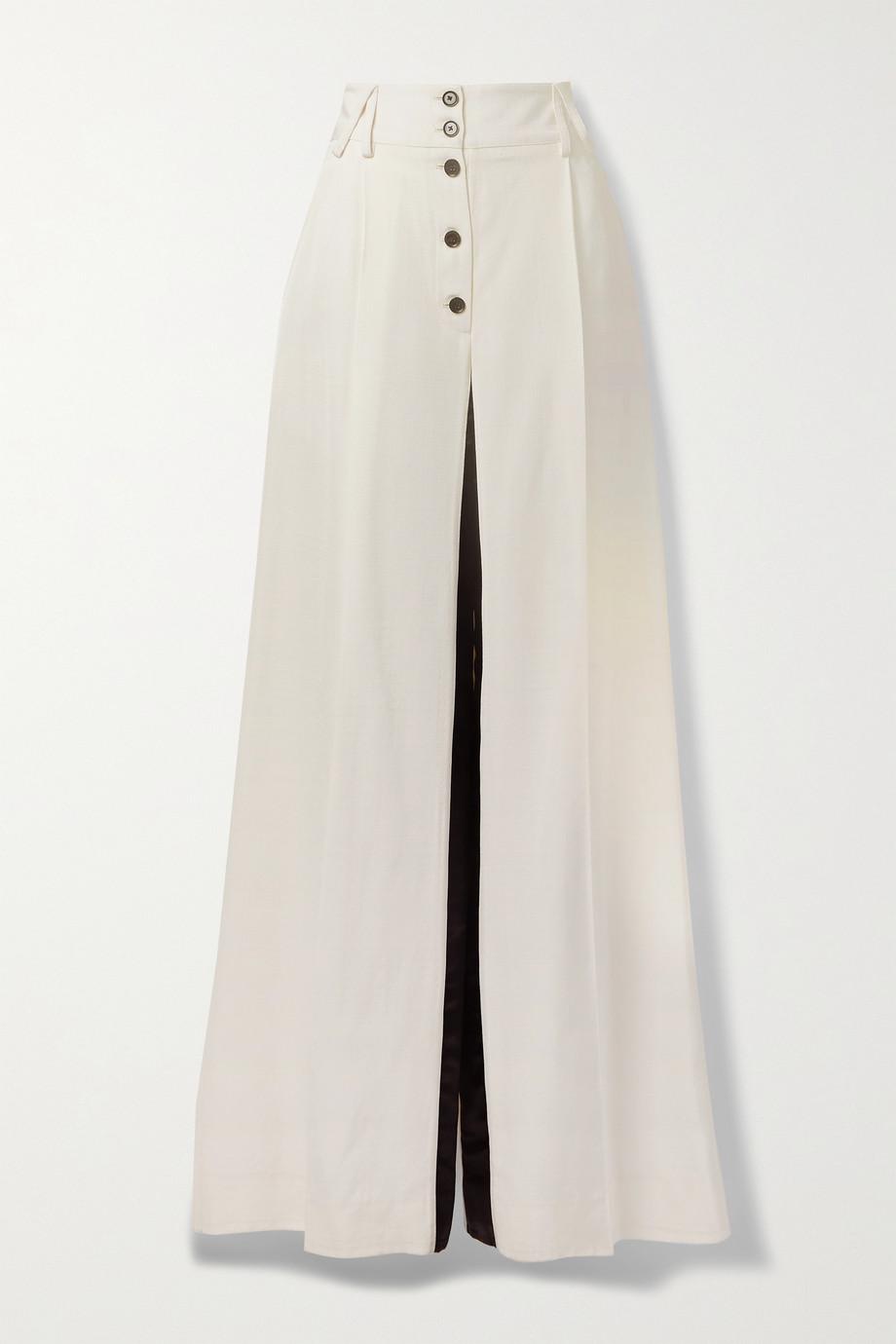 Proenza Schouler Two-tone satin-trimmed woven wide-leg pants