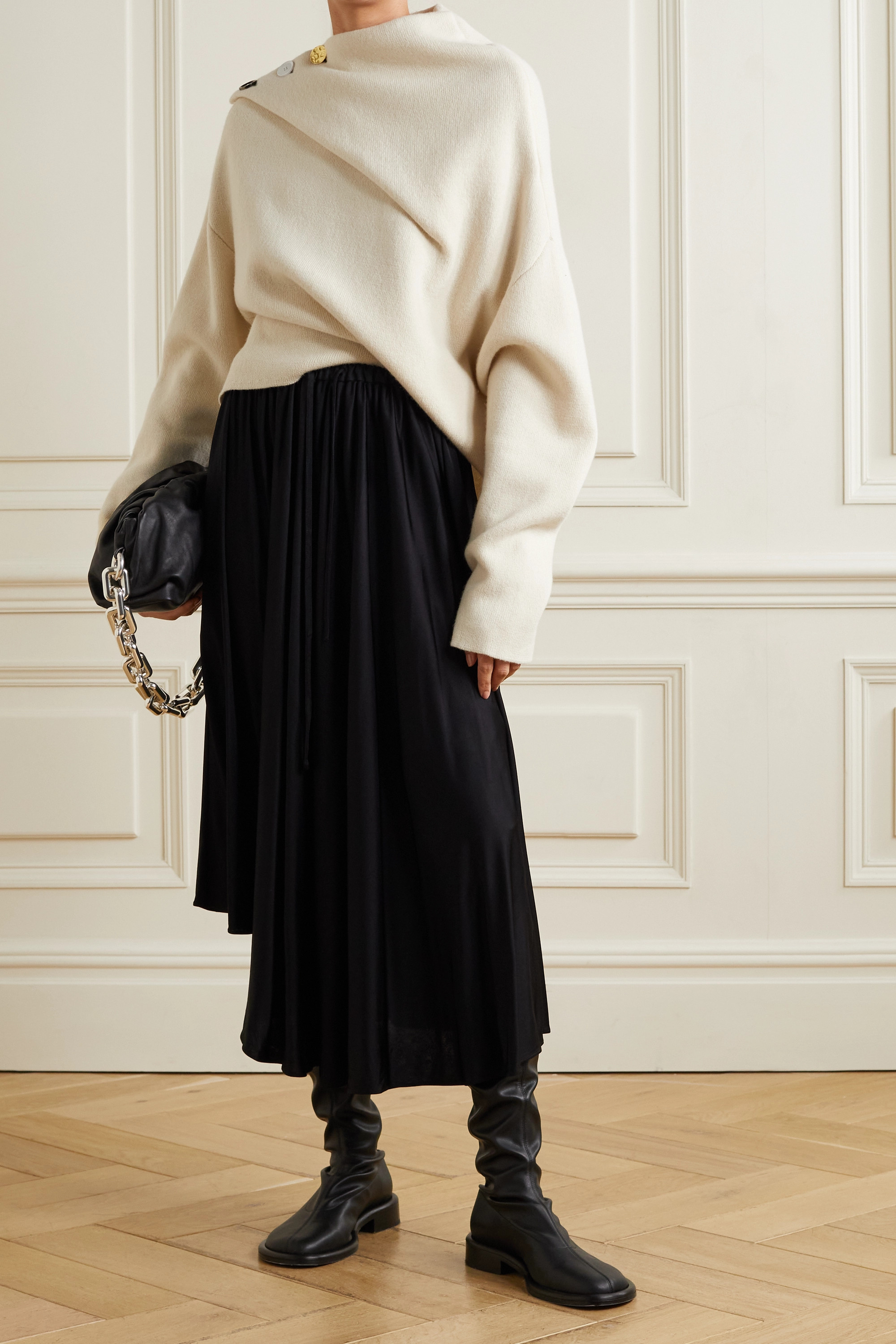 Proenza Schouler Oversized button-embellished draped cashmere sweater