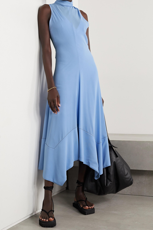 Proenza Schouler Asymmetric belted silk-georgette midi dress