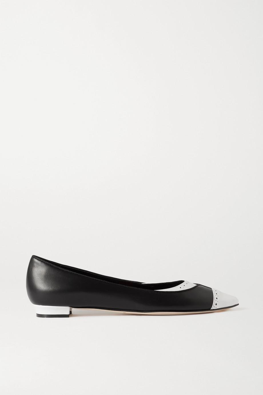 Manolo Blahnik Anfiliga two-tone leather point-toe flats
