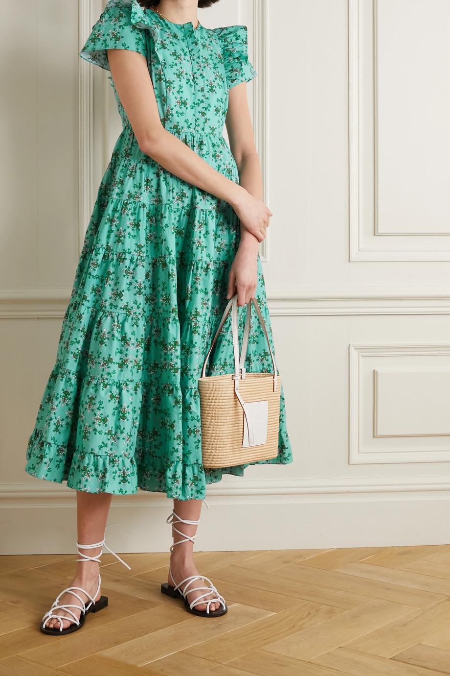 Cefinn Sawyer ruffled tiered floral-print cotton midi dress
