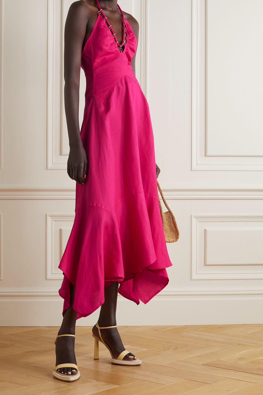 Cult Gaia Constance embellished TENCEL and linen-blend haltnerneck dress