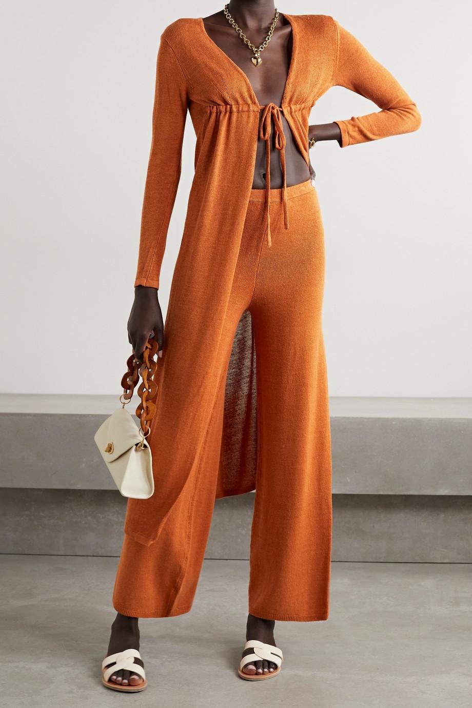 Cult Gaia Pantalon large en lin mélangé Shauna