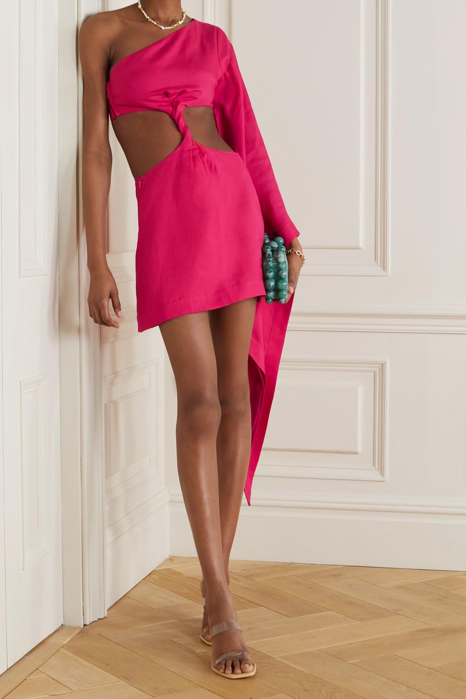 Cult Gaia Lucienne one-sleeve cutout linen and TENCEL Lyocell-blend mini dress
